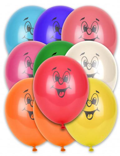 10 palloncini con faccine sorridenti