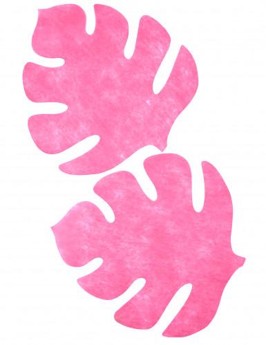 4 tovagliette a forma di foglia color fucsia-1