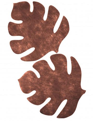 Set di 4 tovagliette a forma di foglia tropicale di colore marrone-1