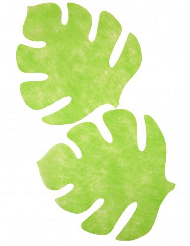 Set di 4 Tovagliette sottopiatto a forma di foglia di colore verde anice-2