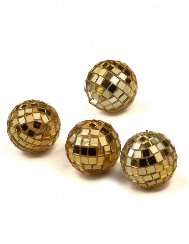 4 mini sfere sfaccettate color oro