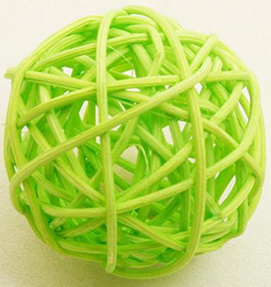 Confezione 6 palline di vimini verde acido (Ø 3,5cm)