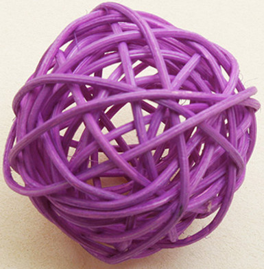 6 sfere in vimini prugna diametro 3.5 cm