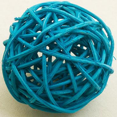 6 palle in vimini color turchese diametro 3.5 cm