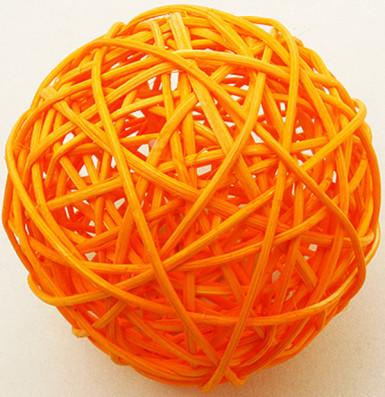2 palle in vimini di colore arancione 6 cm di diametro