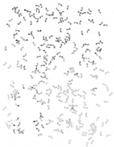 Coriandoli da tavola a forma di note musicali argentate-1