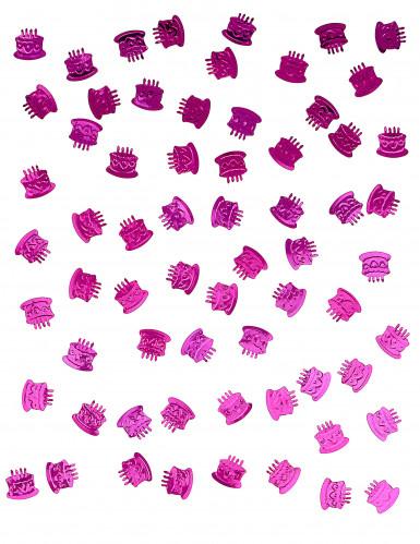 Coriandoli da tavolo a forma di torta di compleanno fucsia-1