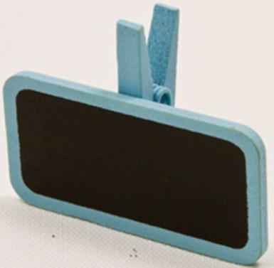 6 mollette di legno con lavagnetta azzurro cielo