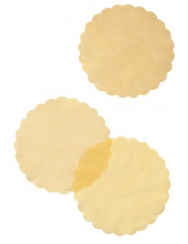 Set di 6 tovagliette sottopiatto in tulle color oro-1