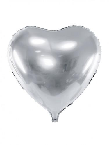 Palloncino a forma di cuore argentato 46 cm