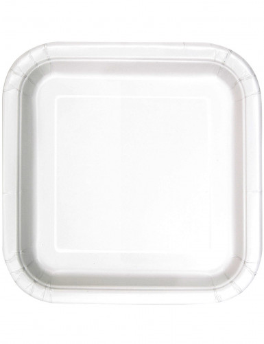 14 piatti quadrati in cartone bianco 23 cm