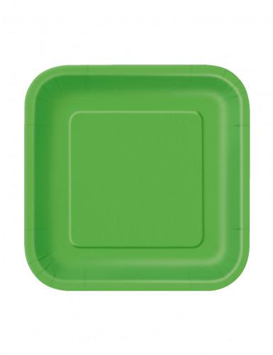16 piatti verdi di cartone quadrati