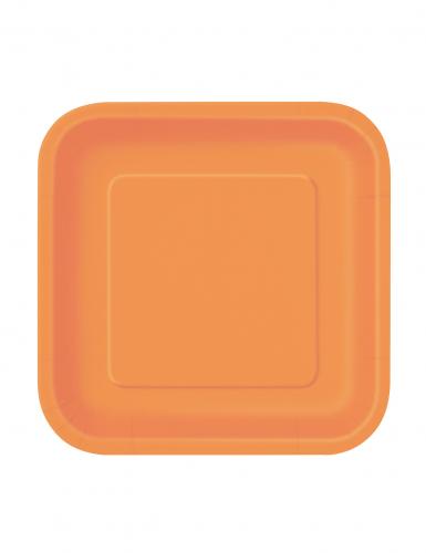 16 piatti quadrati di carta di colore arancione