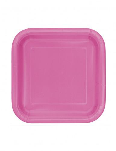 16 Piccoli piatti color rosa in cartone 18cm