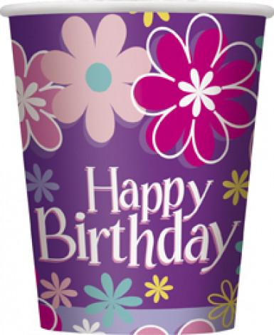 8 bicchieri in cartone Happy Birthday fiori