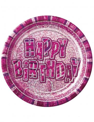 8 Piatti usa e getta rosa e viola compleanno