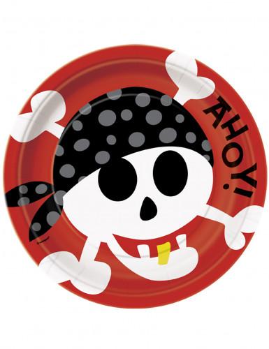 8 Piatti di carta Pirati 23 cm