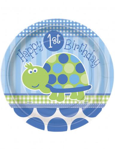 8 piatti blu in cartone First Birthday