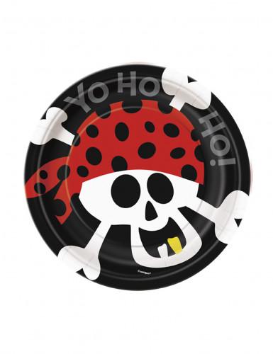 8 piattini tema pirata in cartone 18 cm