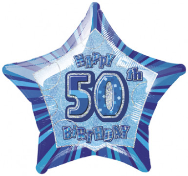 Palloncino blu 50 anni a forma di stella