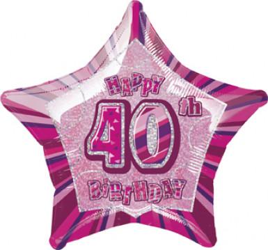 Palloncino rosa a forma di stella per i 40 anni