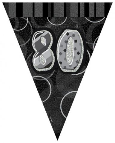 Ghirlanda a gagliardetti grigia con numero 80