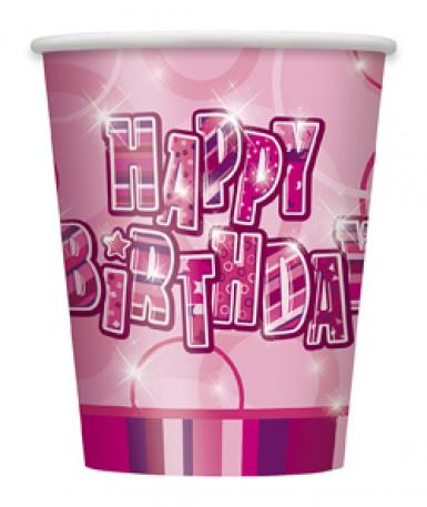 8 Bicchieri usa e getta rosa compleanno