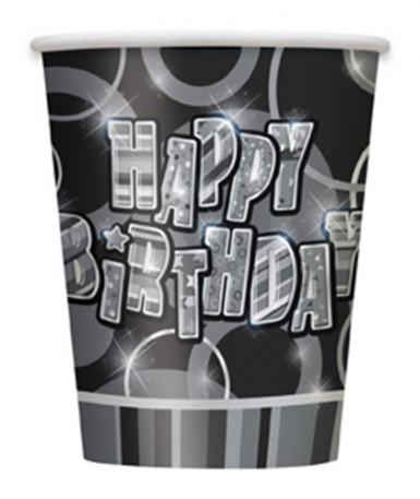 8 bicchieri Happy Birthday di cartone