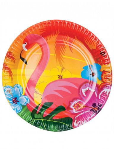Sei piatti di carta con colorata stampa Hawaiana