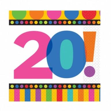 16 tovaglioli di carta a righe e pois per festeggiare 20 anni
