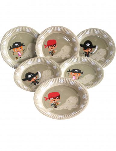 6 piatti in cartone con motivo Pirata 23 cm