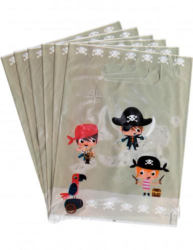 6 sacchetti beige a tema pirati
