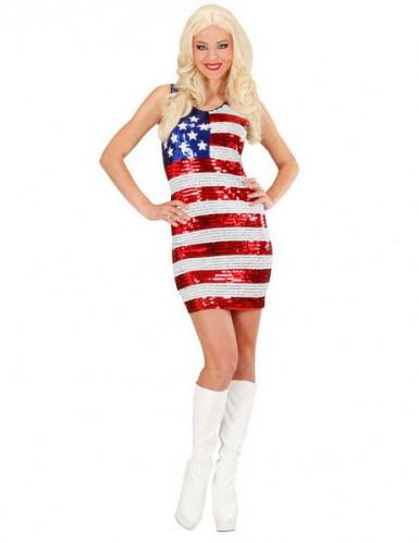 Costume da miss USA con paillettes colorate