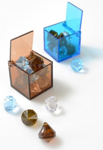 4 Scatole cubiche turchesi semitrasparenti-1
