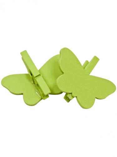 6 mollette da bucato con farfalla verde acido