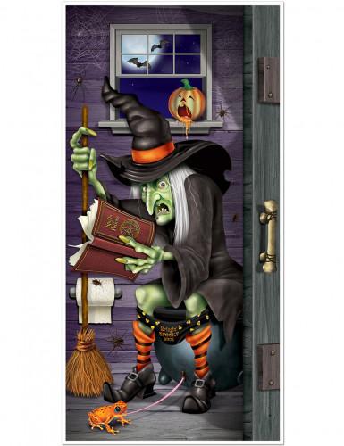 Decorazione per porta con strega in bagno