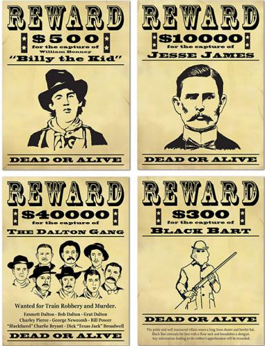 4 poster Wanted banditi americani