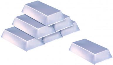 Confezione da 6 lingotti simil argento