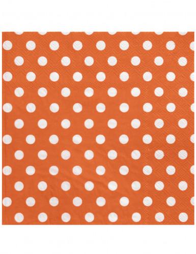 20 tovaglioli di carta color arancione a pois bianchi 33 x 33 cm