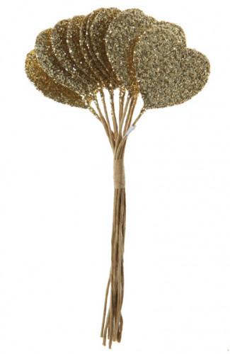 Bouquet di 12 cuori dorati