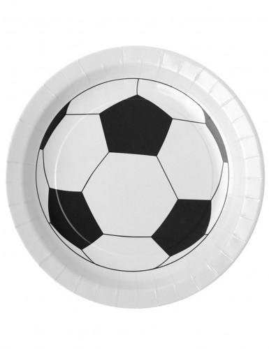 10 piatti di cartone pallone calcio bianchi 23 cm