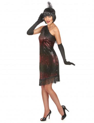 Costume Charleston di colore nero e rosso per donna-1