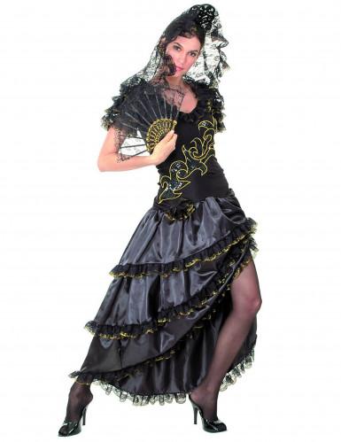 Costume nero e dorato da ballerina di Flamenco
