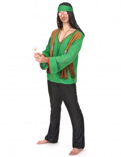 Costume verde da hippy per uomo-1