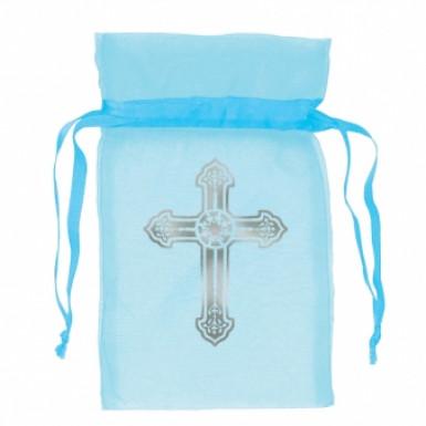 12 sacchetti da comunione in organza blu