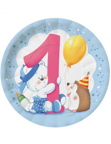 8 piatti di carta Teddy 1 anno Bambino 23 cm