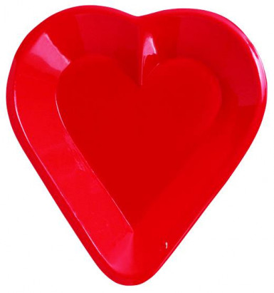 Coppetta rossa a forma di cuore in plastica