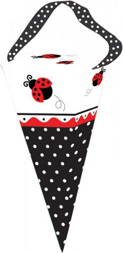 6 coni in cartone porta regalo con fantasia Coccinelle