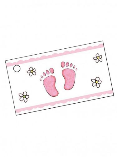 10 etichette di carta rosa per battesimo bambina