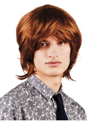 Parrucca castana da uomo stile disco